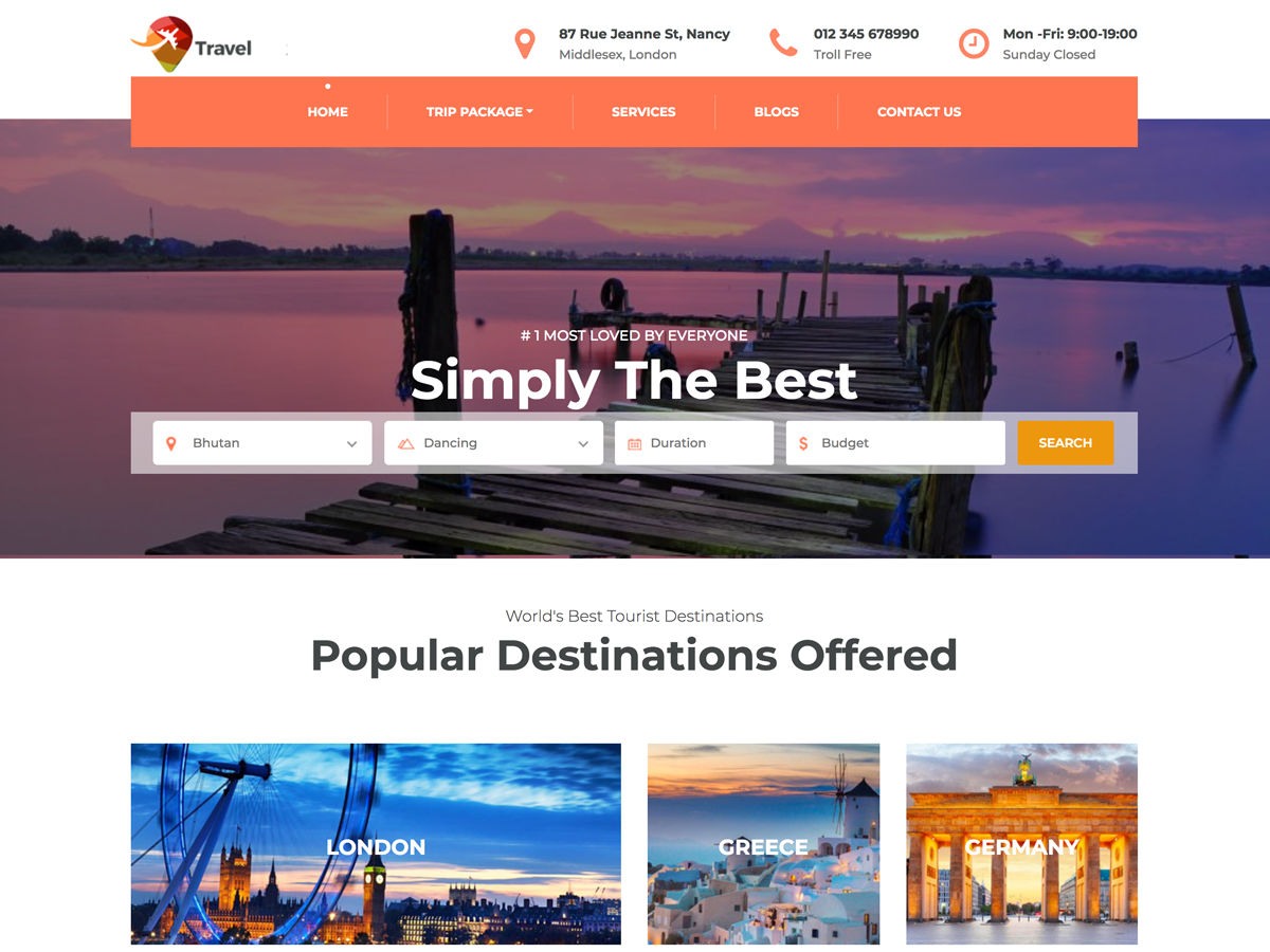 Travel Company WordPress Theme – Scorpion Themes